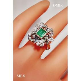 Anillo Esmeralda Diamantes Oro 14k Natural Vintage