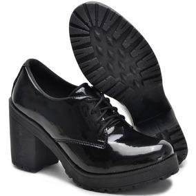 c382a27c6 Sapato Feminino Oxford Salto Tratorado Preto Verniz Ref735 - Sapatos ...