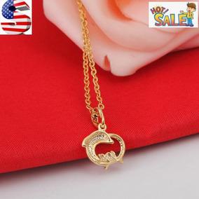 Gold - Circón Cúbico Plateado Platino Oro Delfín Trébol-3897