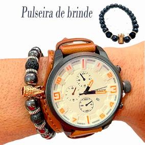 Relógio Masculino Curren Original Couro + Pulseira De Brinde