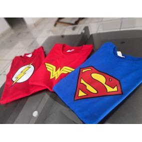 Playera Super Heroes. Superman, Mujer Maravilla, Flash