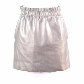 Zara Knit Falda Dorado Vinil S