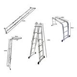 Escada Multifuncional 4x3 Em Alumínio Com 12 Degraus Belfix