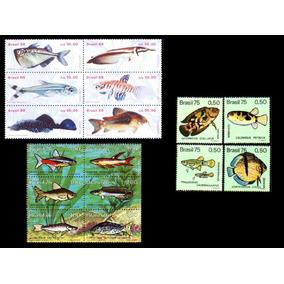 Peixes Do Brasil - 3 Séries Completas Sem Carimbo