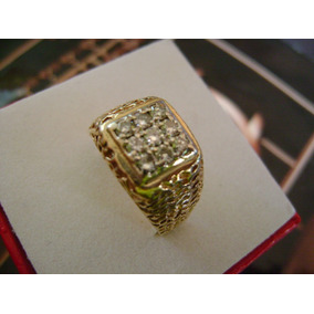Fabuloso Anillo En Oro 14k C/brillantes (diamantes).