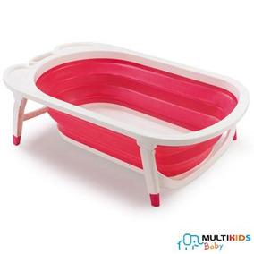 Banheira Dobrável Multikids Baby Rosa Flexi Bath