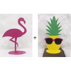 3fa4d4b25a52c Flamingo + Abacaxi Mdf Pintado Decoração Festa Aloha Havaí