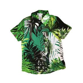 Camisa Havaiana Viscose Infantil Folhagem c36306089d51a