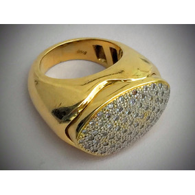 Anel Ouro 18k-750-26.2 Gr. Cravejado De Diamantes Aro 16.