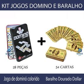 Jogo De Dominó Colorido + Baralho De Luxo Dourado - Novo 84bc0567ce8