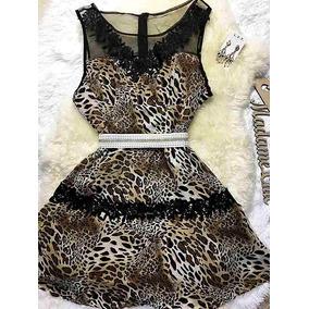 Vestido Animal Print Onça Delicado Da Moda Roupas Femininas