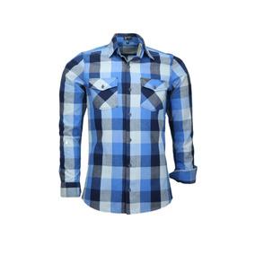 Promoção Camisa Amil Blank Xadrez Estilo Militar 2 Bolsos