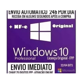 Windows 10 Pro Chave Licença Original Fpp C/ Nota Fiscal Nfe