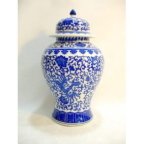 Grande Potiche Porcelana Chinesa Detalhes Florais Sec Xx