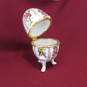 Ovo Porta Joias Floral Rosas Porcelana Francesa Tipo Faberge