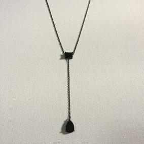 Colar Em Prata 925 Com Banho De Ródio Negro