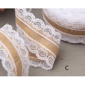 Rolo Juta Renda Branca 10m Favores De Casamento Vintage Love