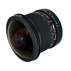 Lente Rokinon Fisheye Canon 8mm F/3.5 Hd Para-sol Removível