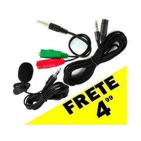 Microfone E Adaptador Para Celular + Cabo Extensor Com 3 Mt
