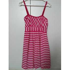 Vestido Feminino Alça Com Listras Rosa E Branco Tam 14 Roupa