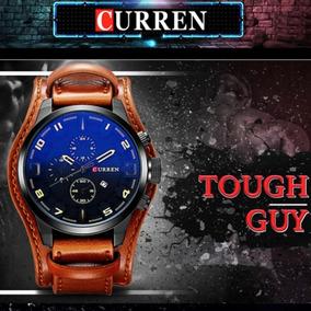 Relógio Curren Original Masculino Militar Couro Marrom 8225