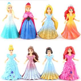 Princesas Disney Kit Com 8 Bonecas + 8 Vestidos Magiclip