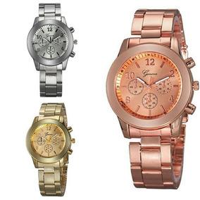Relógio Importado Unissex! Em Aço Inox! Prata / Ouro / Rose