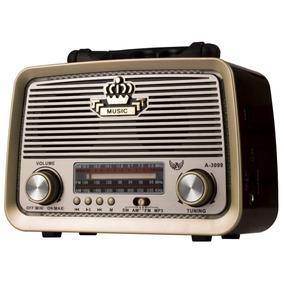 Rádio Retro Vintage Am Fm Sw Usb Bateria Recarregavel Aux Sd