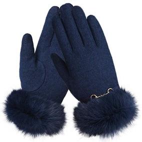 Guantes De Lana Frio Invierno Mujer Color Azul Marca Warmen
