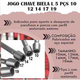 Jogo Chave Biela Ferramenta Manual Mecânico Forma L 5 Peças