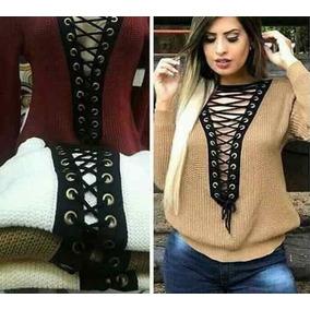 Blusa De Lã Trico Tricot Decote Trançado Lançamento. Ref:503