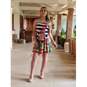Vestido Estampado Rodado Regata Roupas Femininas Verão
