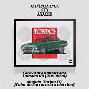 Caricatura De Autos Enmarcada 30x20cm Torino Ts