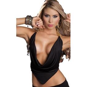 Sexy Blusa Halther Con Detalle Cadenas Doradas Crop Top 242