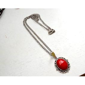 Colar Correntinha Gótico Vintage Vermelho Vivo Frete Grátis
