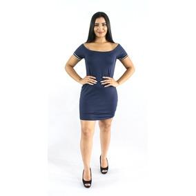 Vestido Feminino Justo Curto Com Galão Listrado