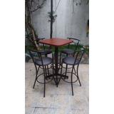 Juego Mesa Periquera C/4 Bancos Chabely Longe Bar Cafe Resta