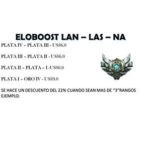 Elo Boost, League Of Legends Lan - Las - Na Plata