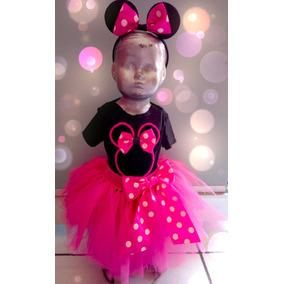 Disfraz Minnie Mouse Tutú, Pantiblusa Y Orejas Fucsia