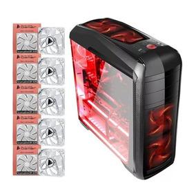 Kit Gabinete Bluecase Gamer Bg-024 Com 5 Fans Vermelho