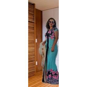 Vestido Feminino Longo Moda Evangélica Com Fenda Floral