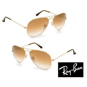 5ac77a105c52f Óculos Ray Ban Aviador Dourado Com Lente Marrom Degrade - Óculos De ...