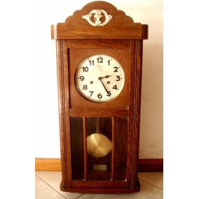 Antiguo Reloj Pared Aleman Junghans Pendulo Caja Roble 1920c