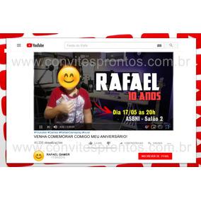 Convite De Aniversário Digital Tema Youtube