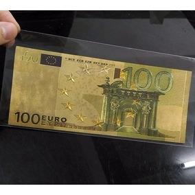 Cédula Foleada A Ouro 100 Euros Coleção Notas Moedas Euro