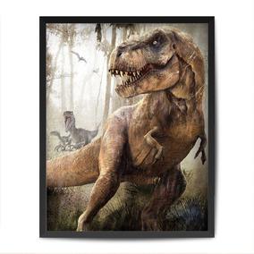 Quadro Personalizado Tiranossauro Rex C/ Vidro Dinossauro
