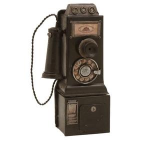 Telefone Preto Decorativo Retrô Metálico - Também É Cofre