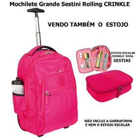 Mochilete Grande Sestini Rolling Crinkle Rosa