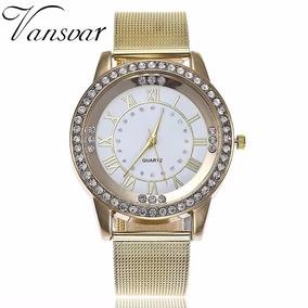 Reloj De Diamante De Imitacion Moda Casual Mujer Gold White