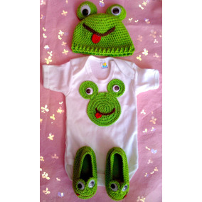 Zapatos Tejidos Con Gorra Y Pañalero Decorado Para Bebé Rana